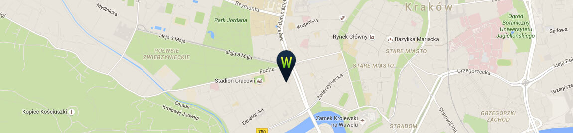 Map of how to get to Webyourself office in Cracow
