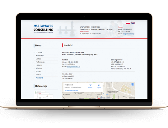 Strona www dla firmy consultingowej
